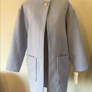 New Kenneth Cole blue long coat, front pockets
